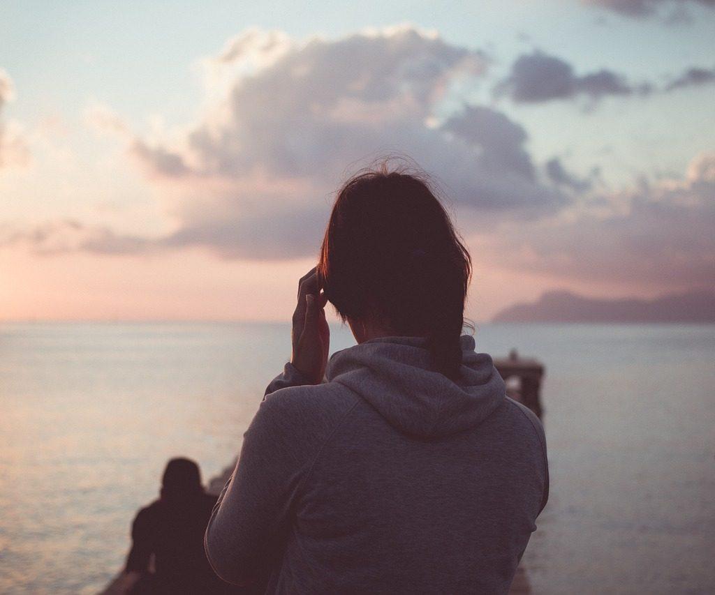 woman, sunset, sea